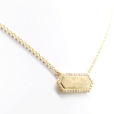 14K Yellow Gold and Diamond Bar Necklace