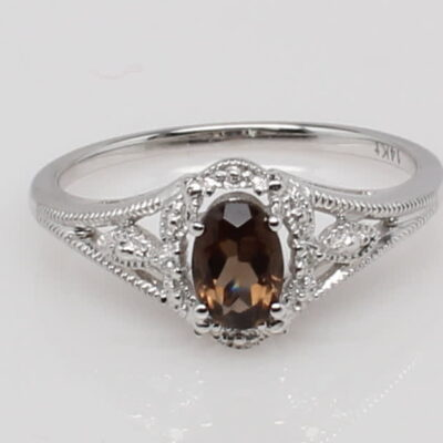14 Karat White Gold Oval Smoky Topaz and Diamond Accent Ring