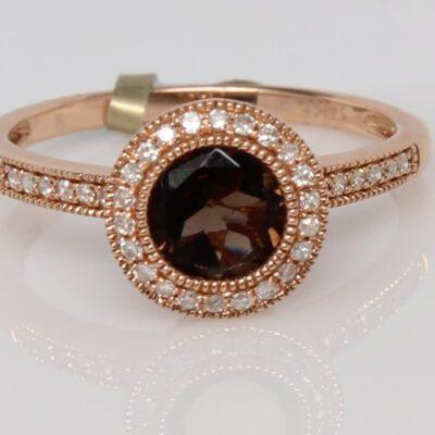 14K Rose Gold Smoky Topaz and Diamonds Ring