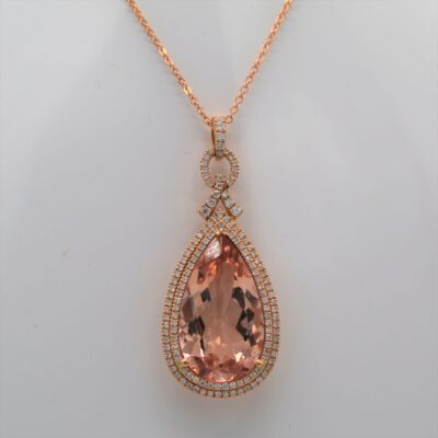 9.72 Carat Morganite and .58ctw Diamond Pendant Set in 18kt Rose Gold