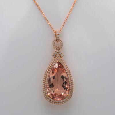 9.72 Carat Morganite and .58ctw Diamond Pendant Set in 18kt Rose Gold