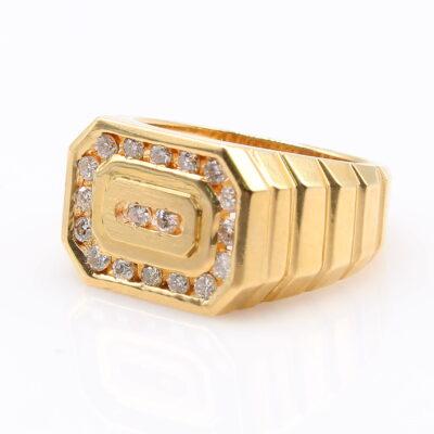 14KT Yellow Gold .54ctw Diamond Signet Ring