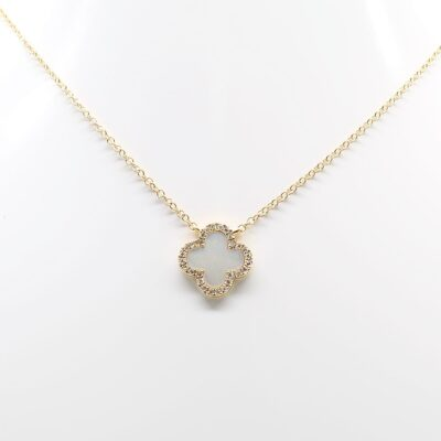 14K Yellow Gold Mother of Pearl Quatrefoil and Diamond Accented Necklace
