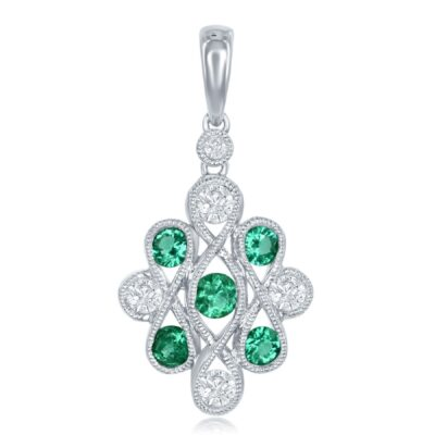 18KW Emerald and Diamond Pendant