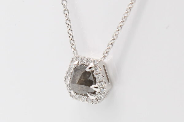14K White Gold Pendant with .47ct Rough Diamond and Halo