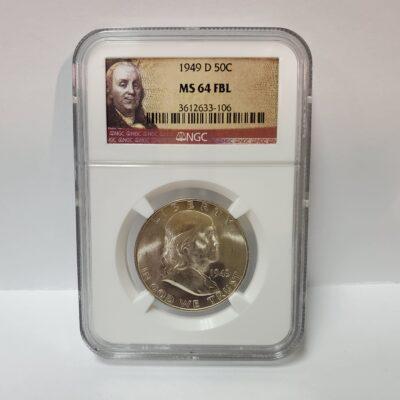 1949 D Franklin Half Dollar NGC MS 64 FBL
