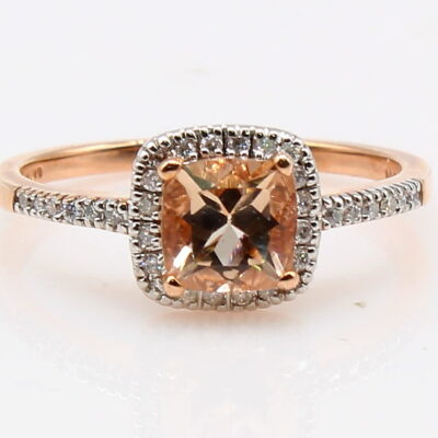 10K Rose Gold Morganite Ring with Diamond Accents