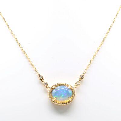 14K Yellow Gold Oval Opal and Diamond Pendant