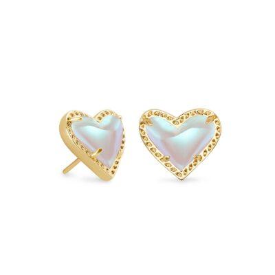 Ari Heart Stud Earring Gold Dichroic Glass