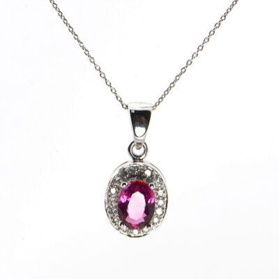 14K White Gold Pink Topaz and Diamond Pendant