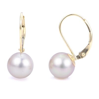 8mm Freshwater Pearls Set in 14K Yellow Gold Lever Back Earrings