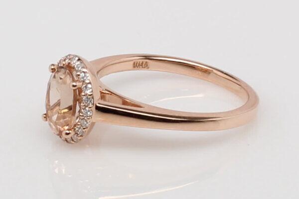 14 Karat Rose Gold Morganite and Diamond Halo Ring