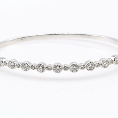 14KT White Gold and 1.93ctw Diamond Bangle