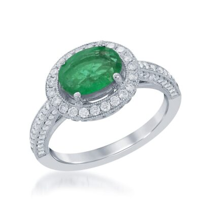 18 Karat White Gold Oval Emerald and Diamond Ring