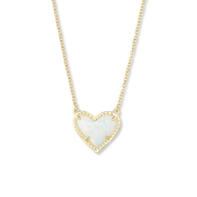 Ari Heart Pendant Gold White Opal