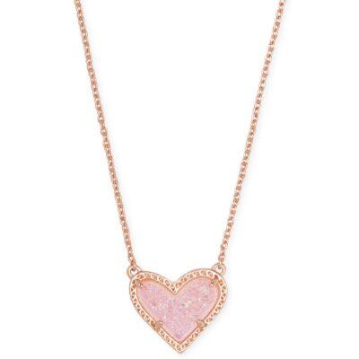 Ari Heart Pendant Rose Pink Drusy