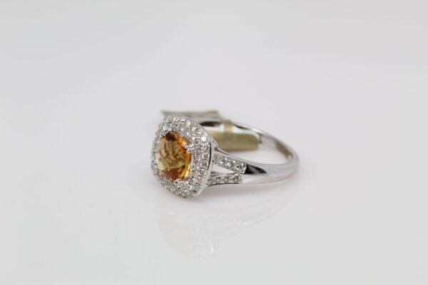 14K Citrine and Diamond Split Shank Ring