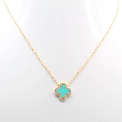 14K Yellow Gold Turquoise Quatrefoil and Diamond Accented Necklace