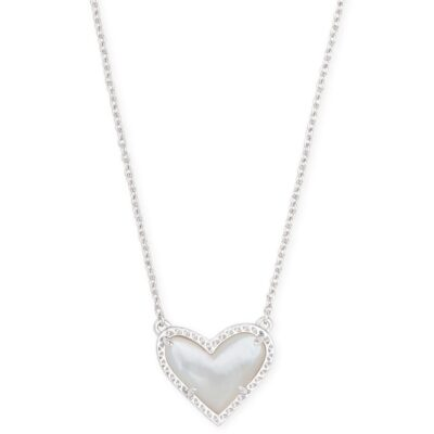 Ari Heart Pendant Rhodium Ivory Mother of Pearl