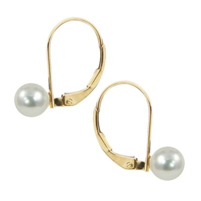 7mm Freshwater Pearls Set in 14K Yellow Gold Lever Back Earrings