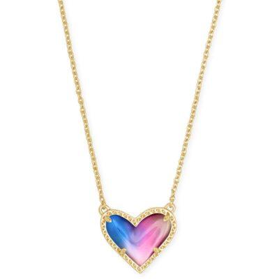 Ari Heart Gold Metal Watercolor Pendant