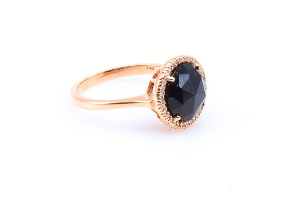 14 Karat Rose Gold Onyx and Diamond Ring