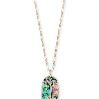 Reid Gold Metal Faceted Abalone Necklace