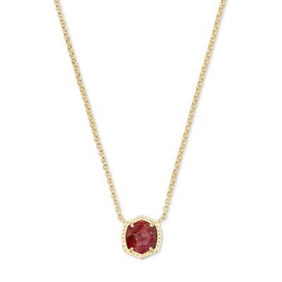Davie Short Pendant Necklace Gold Raspberry Labradorite