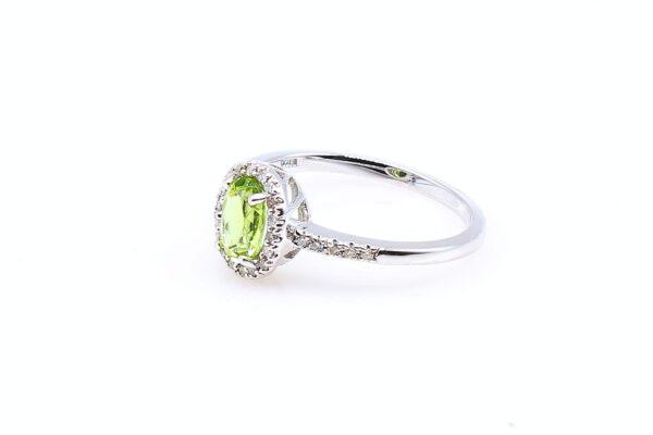 14KW Oval Peridot .76ct Diamond Accent Ring