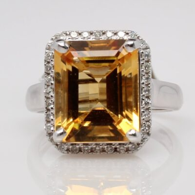 14 Karat White Gold Citrine and Diamond Ring