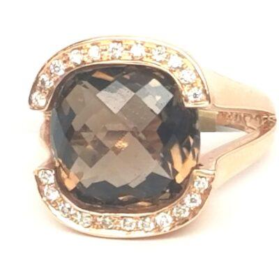 14 Karat Rose Gold Smokey Quartz and Diamond Ring