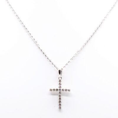 14KW 0.10ctw Diamond Cross Pendant