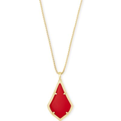 Alex Gold Metal Bright Red Necklace