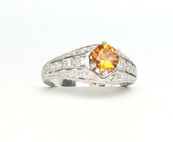 18 Karat White Gold Vintage Citrine and Diamond Ring