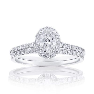 14KW Oval Diamond Halo Ring with Mathing Band 0.70ctw