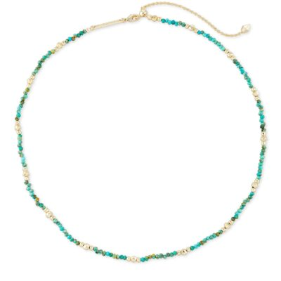Scarlet Choker Necklace Gold Turquoise