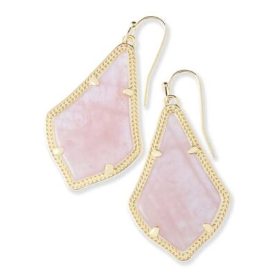 Alex Gold Metal Rose Quartz Earrings