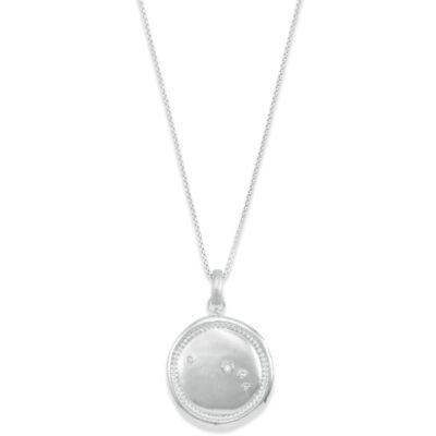 Aries Long Rhodium Coin Necklace