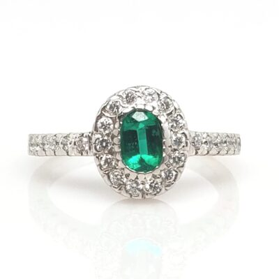 14 Karat White Gold Oval Emerald and Diamond Ring