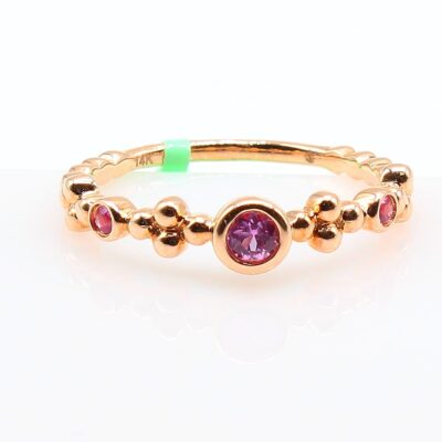 14K Rose Gold Band with .16ctw Pink Sapphires