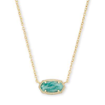 Elisa Necklace Gold Dark Teal Amazonite