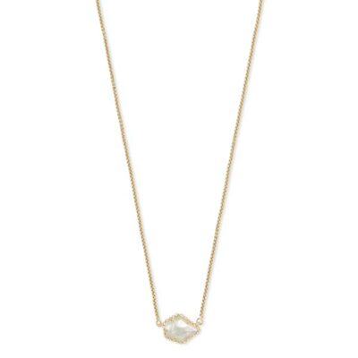Tess Gold Metal Ivory Mother of Pearl Necklace