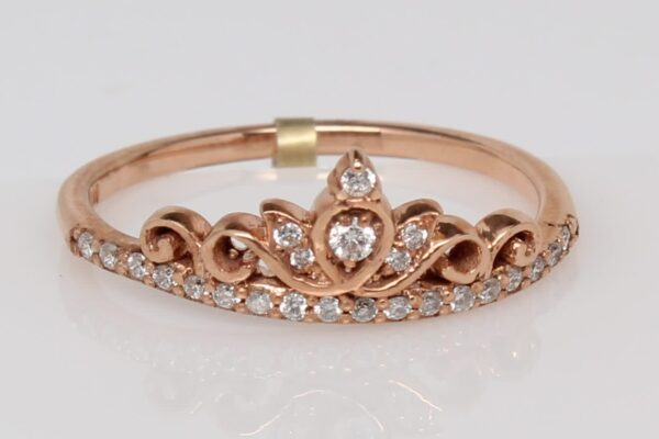 14K Rose Gold and Diamonds Stackable Crown Ring