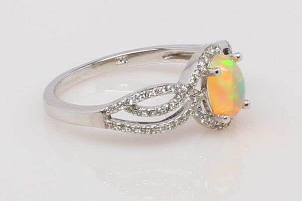 14 Karat White Gold Ethiopian Opal and Diamond Ring