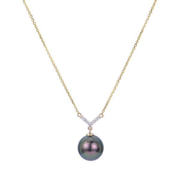 14 Karat Yellow Gold and Peacock Tahitian Pearl Necklace with Diamond Accents
