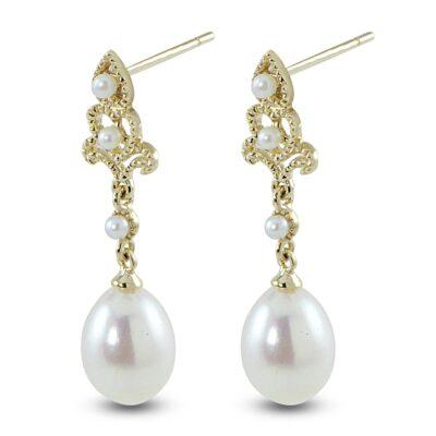 14KY 7-7.5mm Pearl Vintage-Style Earrings
