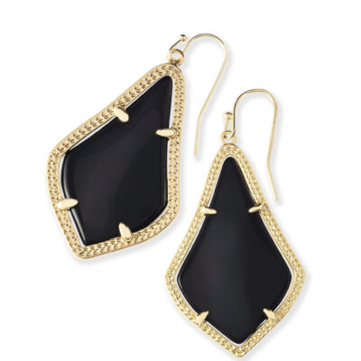 Alex Gold Metal Black Earrings