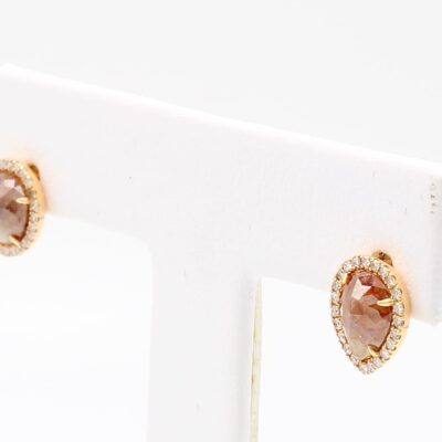 Pear Shaped Rough Diamond Studs with White Diamond Halo in 18K Rose Gold