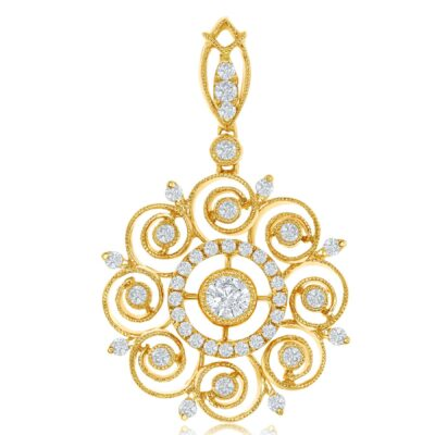 18K Yellow Gold Vintage Diamond Pendant