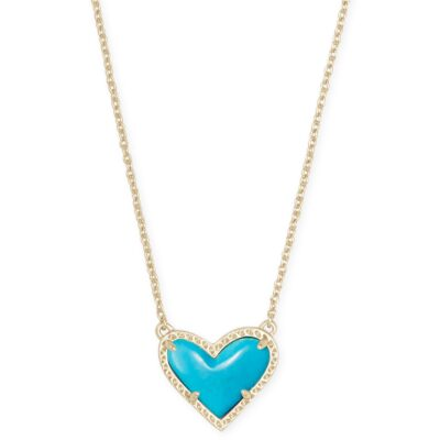 Ari Heart Pendant Gold Metal with Turquoise